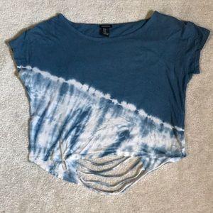 Forever21 blue/white back slits summer crop top